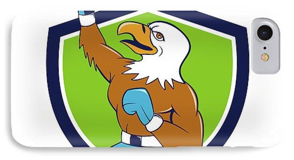 Bald Eagle Boxer Pumping Fist Crest Cartoon IPhone Case