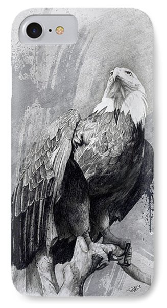 IPhone Case featuring the drawing Bald Eagle Drawing by Steve Goad