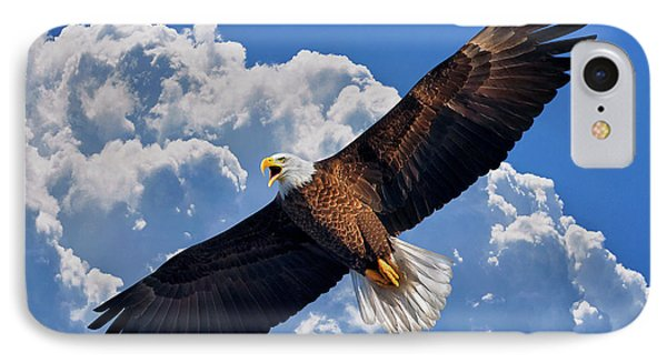 Bald Eagle In Flight Calling Out IPhone Case by Justin Kelefas