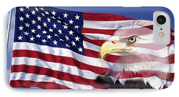 Bald Eagle On Flag IPhone Case by Panoramic Images