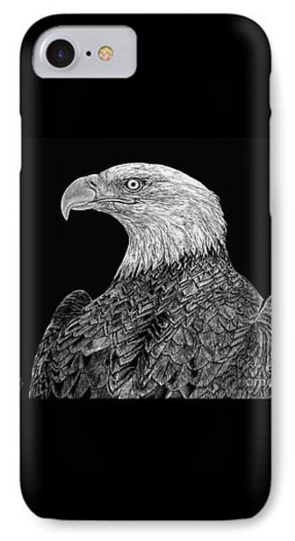 Bald Eagle Scratchboard IPhone Case by Shevin Childers