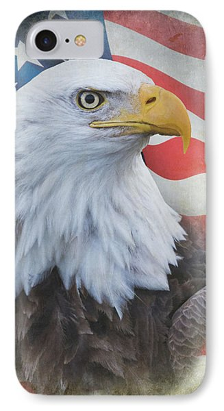 IPhone Case featuring the photograph Bald Eagle With American Flag by Angie Vogel