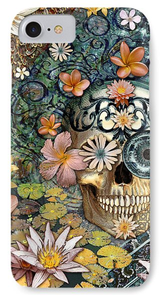 Bali Botaniskull - Floral Sugar Skull Art IPhone Case by Christopher Beikmann