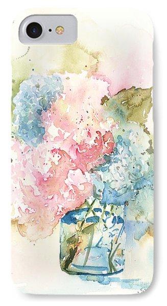 IPhone Case featuring the painting Ball Jar Hydrangeas by Sandra Strohschein