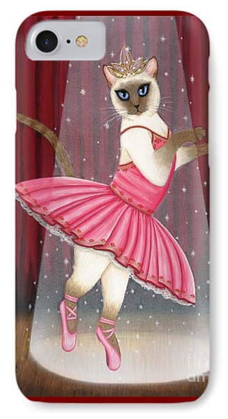 IPhone Case featuring the painting Ballerina Cat - Dancing Siamese Cat by Carrie Hawks