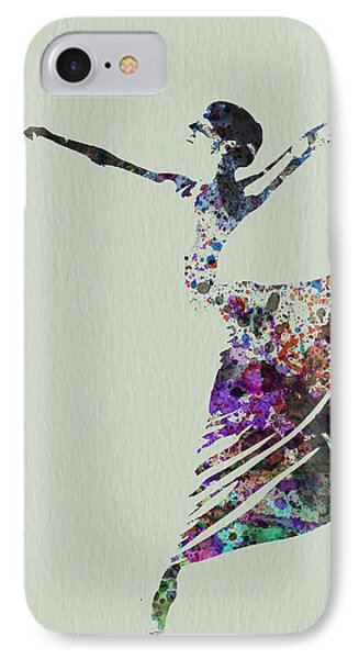 Ballerina Dancing Watercolor IPhone Case by Naxart Studio