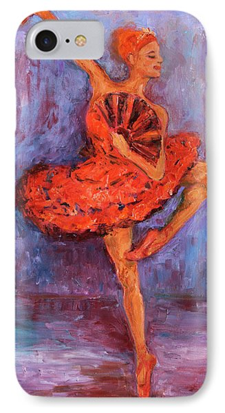 IPhone Case featuring the painting Ballerina Dancing With A Fan by Xueling Zou