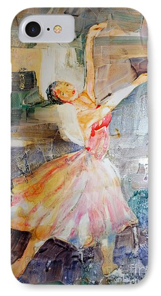 IPhone Case featuring the painting Ballerina In Motion by Mary Haley-Rocks