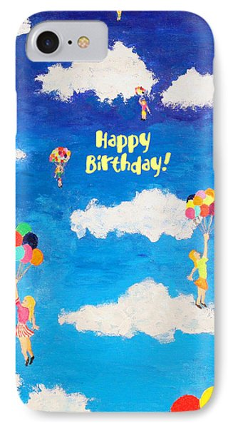 Balloon Girls Birthday Greeting Card IPhone Case