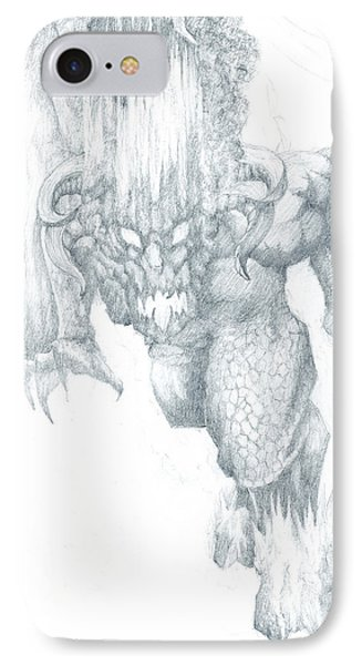 IPhone Case featuring the drawing Balrog Sketch by Curtiss Shaffer
