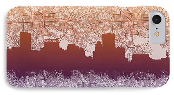 IPhone Case featuring the painting Baltimore City Skyline Map by Bekim Art