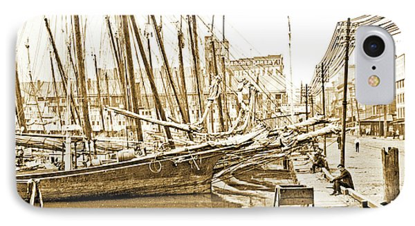 IPhone Case featuring the photograph Baltimore Harbor 1900 Vintage Photograph by A Gurmankin