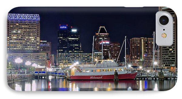 Baltimore Harbor At Night IPhone Case by Frozen in Time Fine Art Photography