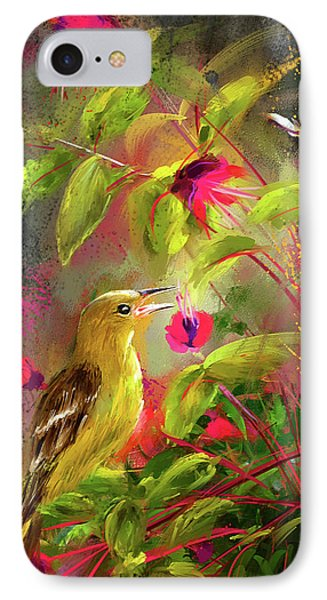 Baltimore Oriole Art- Baltimore Female Oriole Art IPhone Case by Lourry Legarde