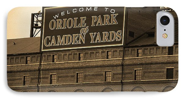 Oriole iPhone 7 Case - Baltimore Orioles Park At Camden Yards Sepia by Frank Romeo