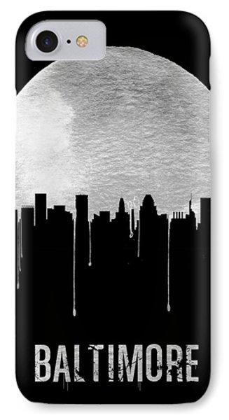 Baltimore Skyline Black IPhone Case by Naxart Studio