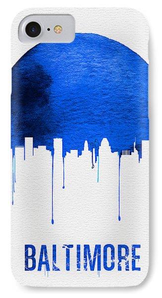 Baltimore Skyline Blue IPhone Case by Naxart Studio