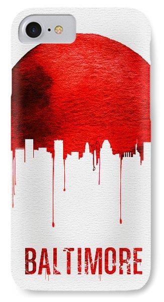 Baltimore Skyline Red IPhone Case by Naxart Studio