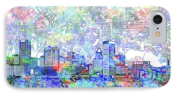 IPhone Case featuring the painting Baltimore Skyline Watercolor 10 by Bekim Art