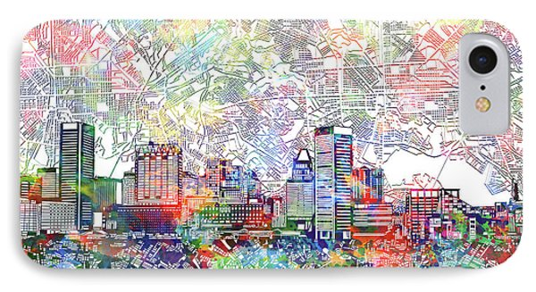 IPhone Case featuring the painting Baltimore Skyline Watercolor 11 by Bekim Art