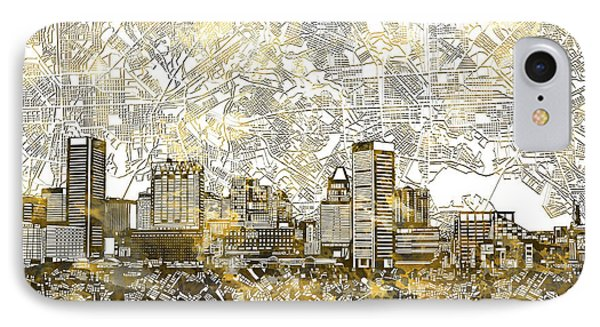 IPhone Case featuring the painting Baltimore Skyline Watercolor 8 by Bekim Art