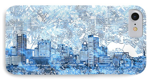 IPhone Case featuring the painting Baltimore Skyline Watercolor 9 by Bekim Art