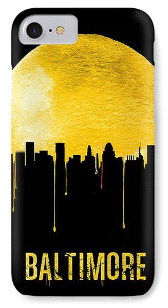 Baltimore Skyline Yellow IPhone Case by Naxart Studio