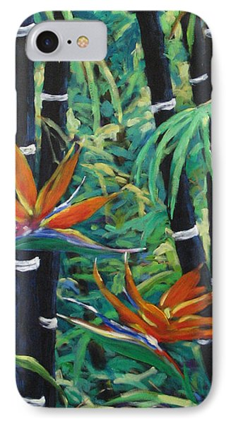 Bamboo And Birds Of Paradise Phone Case by Richard T Pranke