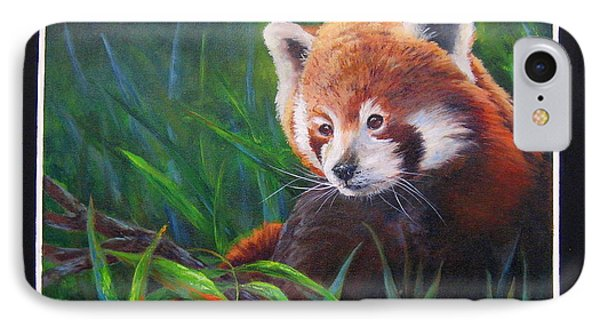Bamboo Basking--red Panda IPhone Case by Mary McCullah