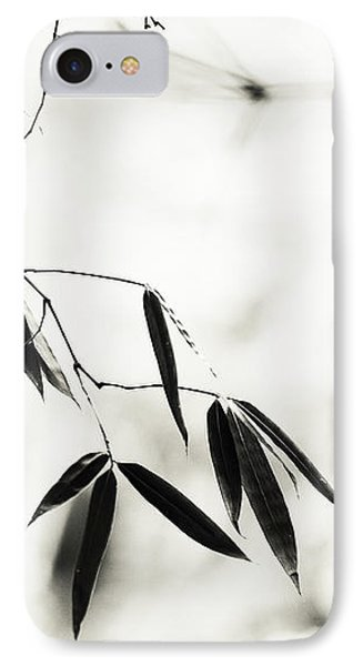 Bamboo Leaves 1. Black And White IPhone Case by Jenny Rainbow