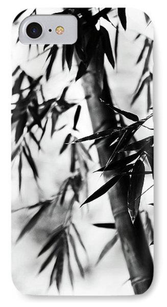 Bamboo Leaves. Black And White IPhone Case by Jenny Rainbow