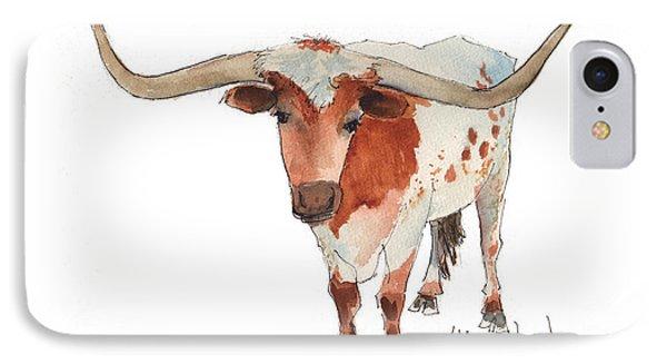 Texas Longhorn Bandero Watercolor Painting By Kmcelwaine IPhone Case
