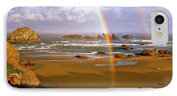 Bandon Beach Rainbow Sunrise Phone Case by Ed  Riche