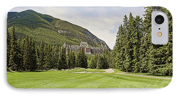 Banff Springs Golf In The Shadow Of The Castle IPhone Case by Scott Pellegrin