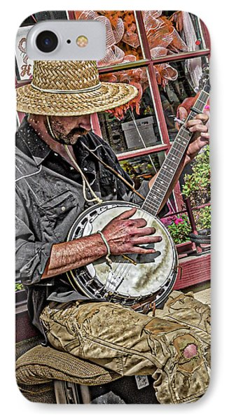 Banjo Man Orange IPhone Case by Jim Thompson