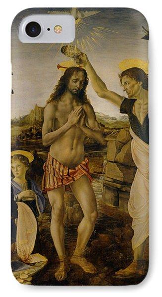 Baptism Of Christ IPhone Case by Leonardo da Vinci