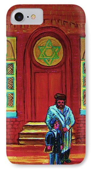 Bar Mitzvah Lesson At The Synagogue Phone Case by Carole Spandau
