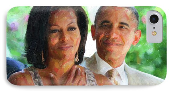 Barack And Michelle Obama IPhone Case by Celestial Images