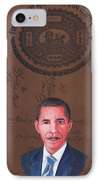 Barack Obama 44th President Of Usa Vintage Old Paper Art Miniature Painting India   IPhone Case by A K Mundra