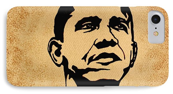 Barack Obama Original Coffee Painting IPhone 7 Case by Georgeta  Blanaru