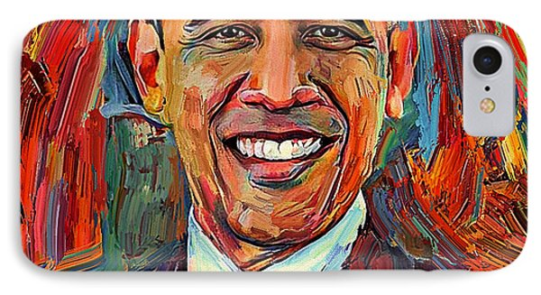 Barack Obama Portrait 2 IPhone Case by Yury Malkov