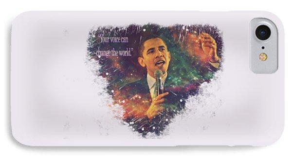 Barack Obama Quote Digital Cosmic Artwork IPhone Case by Georgeta Blanaru