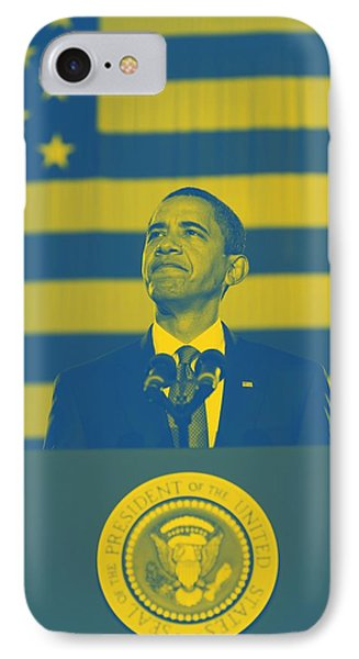 Barack Obama With American Flag 2 IPhone Case by Celestial Images