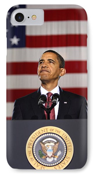 Barack Obama With American Flag IPhone Case