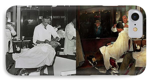 IPhone Case featuring the photograph Barber - A Time Honored Tradition 1941 - Side By Side by Mike Savad