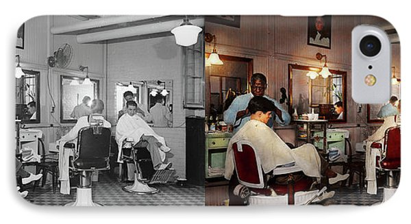 IPhone Case featuring the photograph Barber - Senators-only Barbershop 1937 - Side By Side by Mike Savad