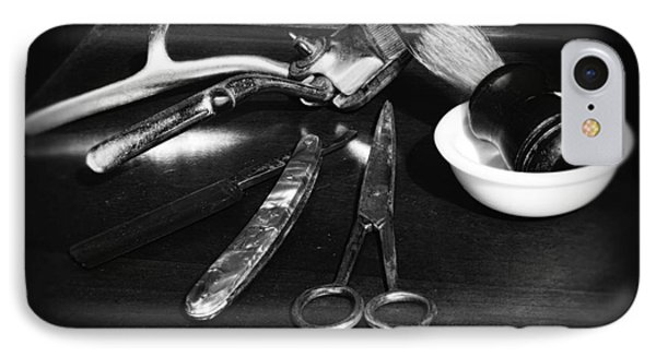 Barber - Things In A Barber Shop - Black And White Phone Case by Paul Ward