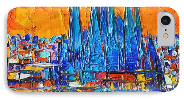 Barcelona Abstract Cityscape 7 - Sagrada Familia IPhone Case by Ana Maria Edulescu