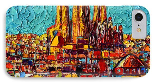 Barcelona Abstract Cityscape - Sagrada Familia IPhone Case by Ana Maria Edulescu