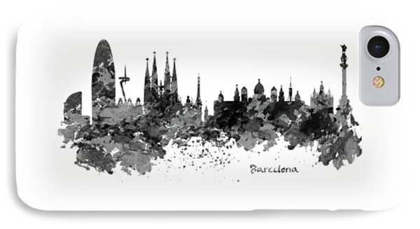 Barcelona Black And White Watercolor Skyline IPhone Case by Marian Voicu